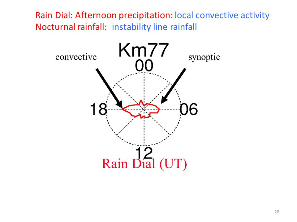 convectivesynoptic Rain Dial (UT) Rain Dial: Afternoon precipitation: local convective activity Nocturnal rainfall: instability line rainfall 28