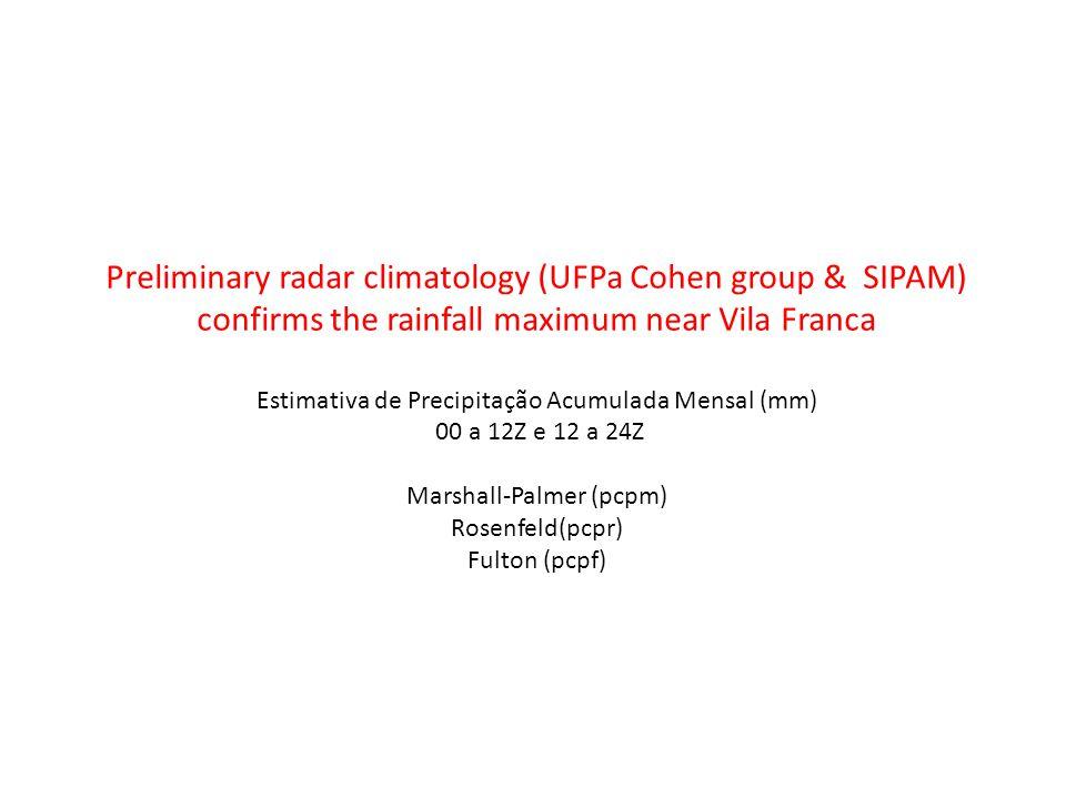 Preliminary radar climatology (UFPa Cohen group & SIPAM) confirms the rainfall maximum near Vila Franca Estimativa de Precipitação Acumulada Mensal (mm) 00 a 12Z e 12 a 24Z Marshall-Palmer (pcpm) Rosenfeld(pcpr) Fulton (pcpf)