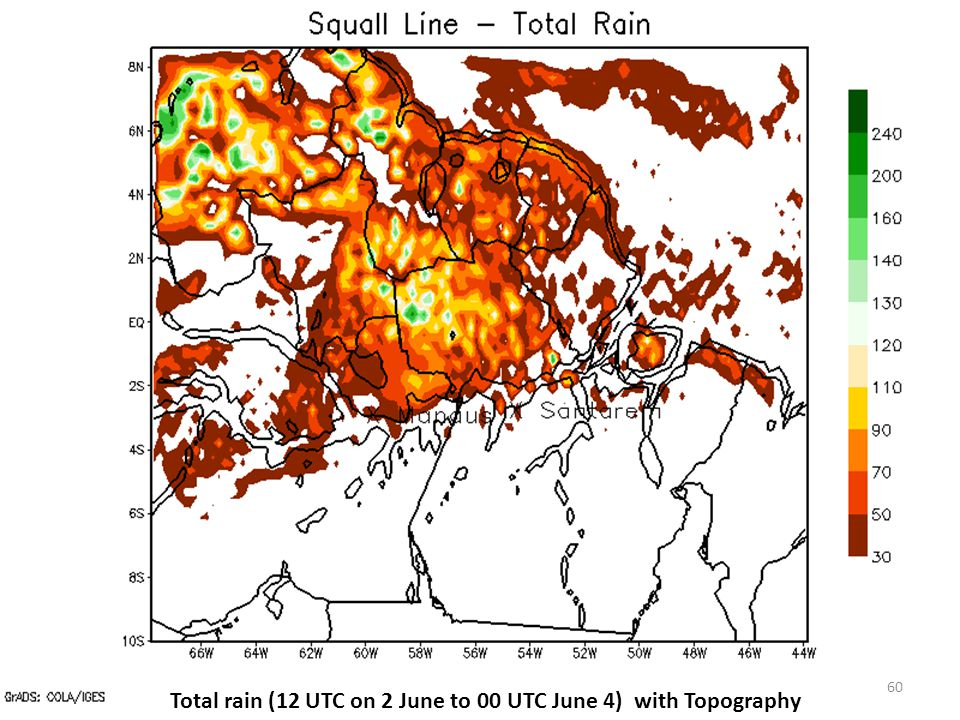 Total rain (12 UTC on 2 June to 00 UTC June 4) with Topography 60