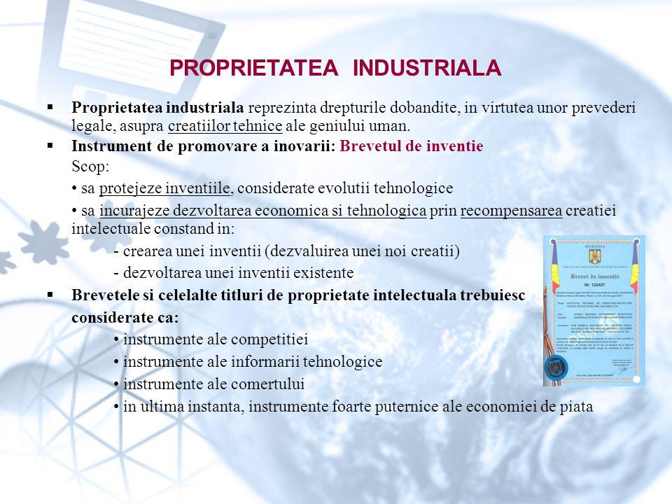  Proprietatea industriala reprezinta drepturile dobandite, in virtutea unor prevederi legale, asupra creatiilor tehnice ale geniului uman.