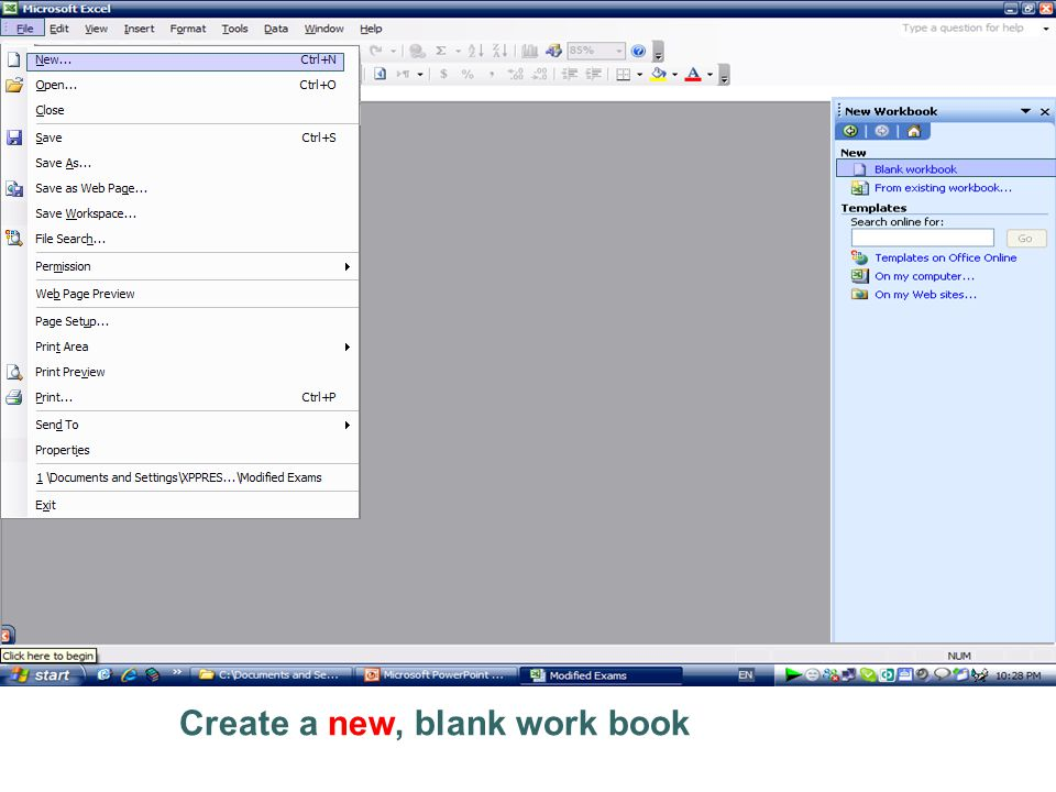 Create a new, blank work book