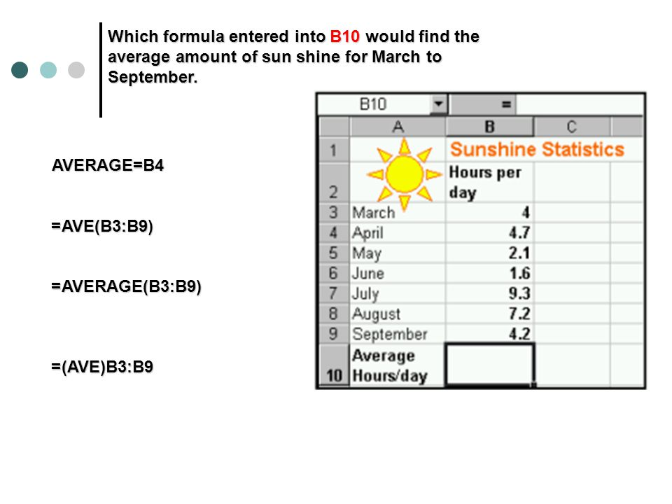 Which formula entered into B10 would find the average amount of sun shine for March to September.