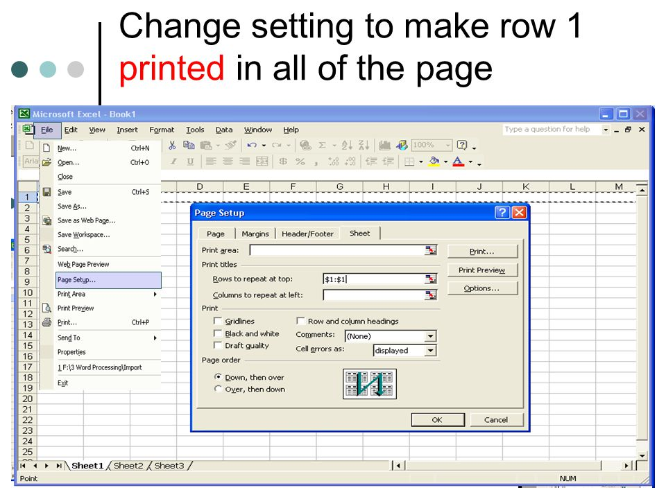 Change setting to make row 1 printed in all of the page