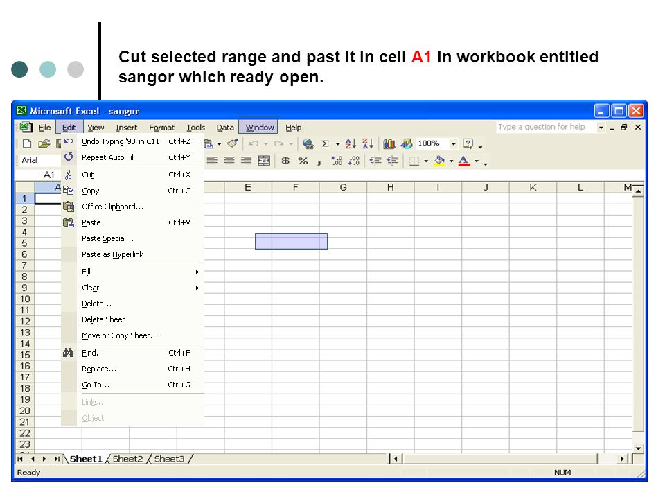 Cut selected range and past it in cell A1 in workbook entitled sangor which ready open.