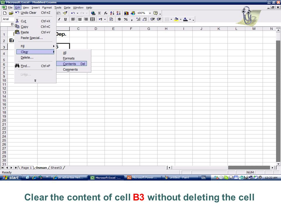 Clear the content of cell B3 without deleting the cell