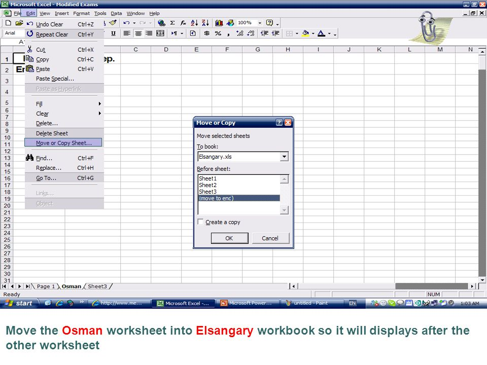 Move the Osman worksheet into Elsangary workbook so it will displays after the other worksheet
