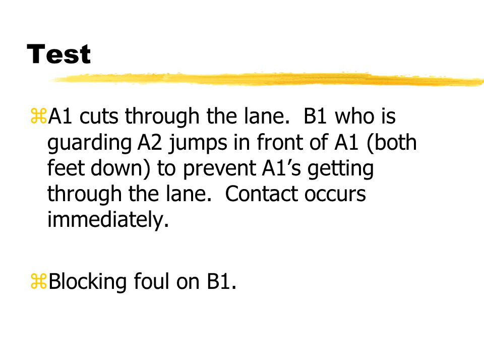 Test zA1 cuts through the lane.