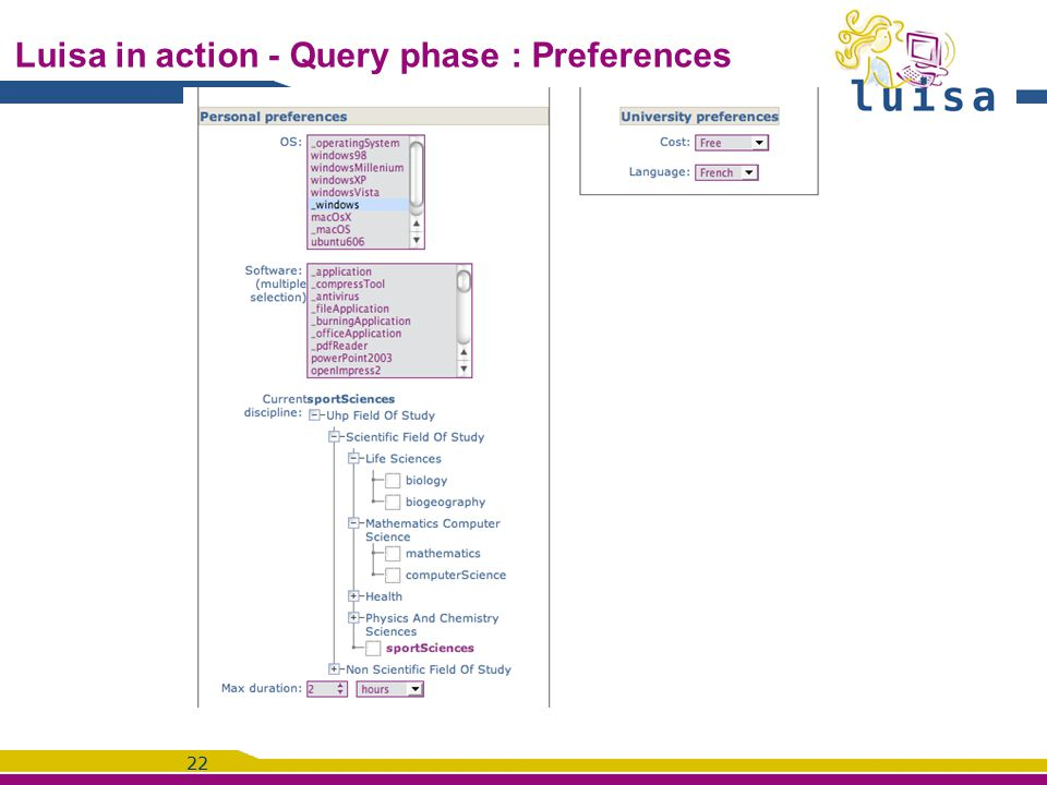 22 Luisa in action - Query phase : Preferences