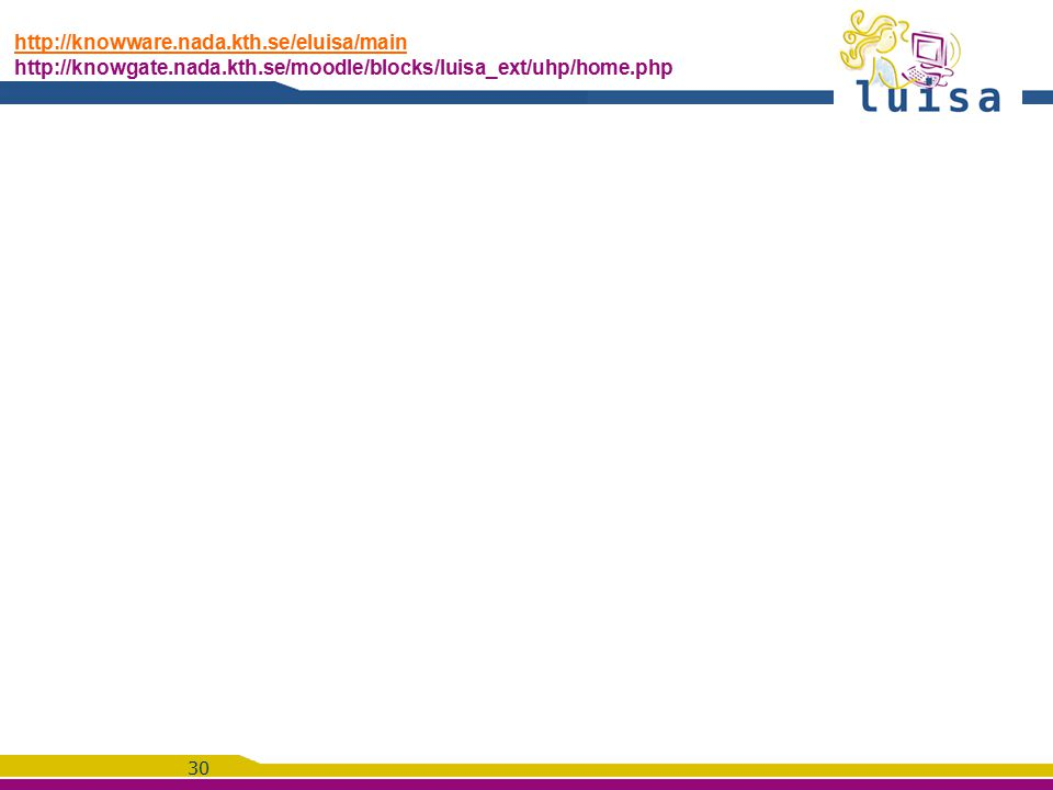30 http://knowware.nada.kth.se/eluisa/main http://knowware.nada.kth.se/eluisa/main http://knowgate.nada.kth.se/moodle/blocks/luisa_ext/uhp/home.php