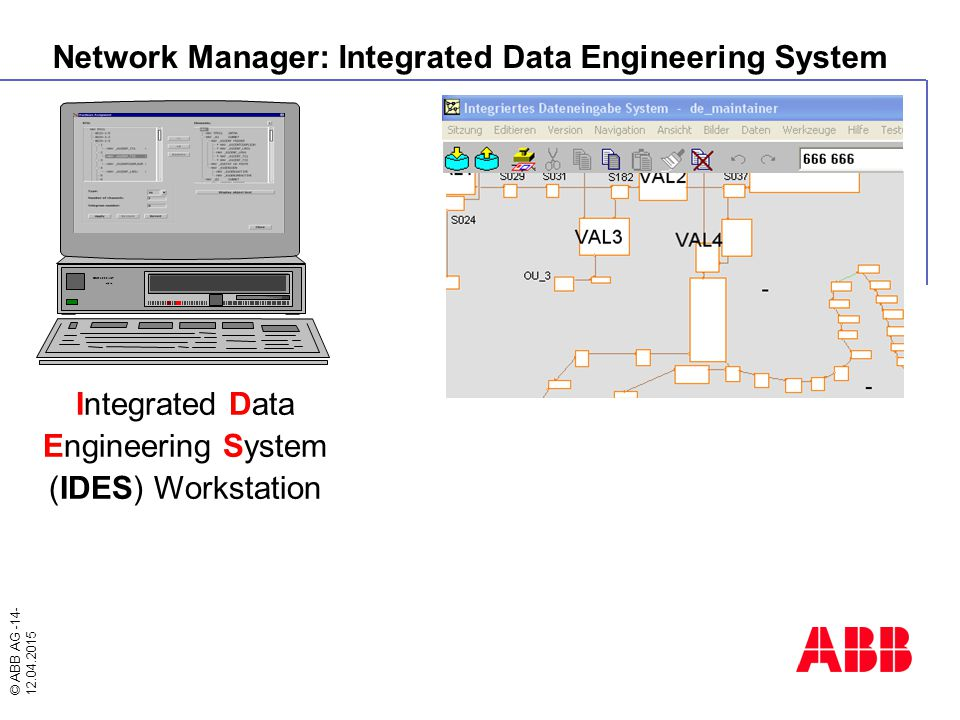 © ABB AG -14- 12.04.2015 Network Manager: Integrated Data Engineering System DEC 3000 AXP Alpha Integrated Data Engineering System (IDES) Workstation