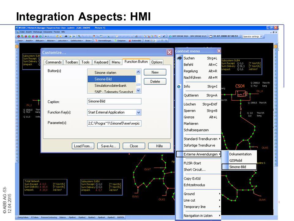© ABB AG -53- 12.04.2015 Integration Aspects: HMI