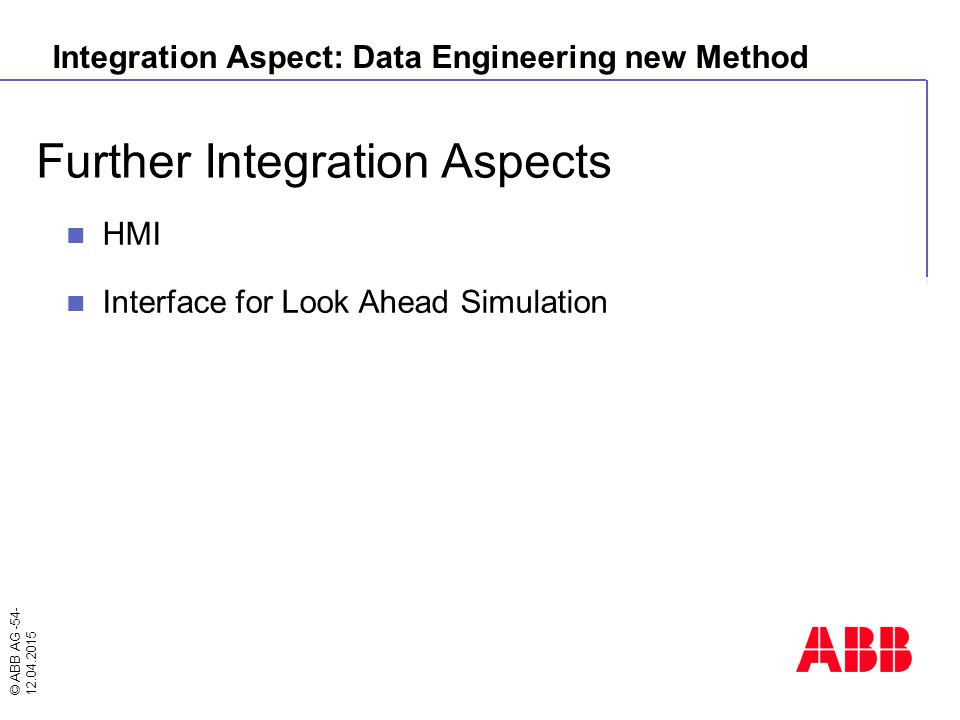 © ABB AG -54- 12.04.2015 Further Integration Aspects HMI Interface for Look Ahead Simulation Integration Aspect: Data Engineering new Method