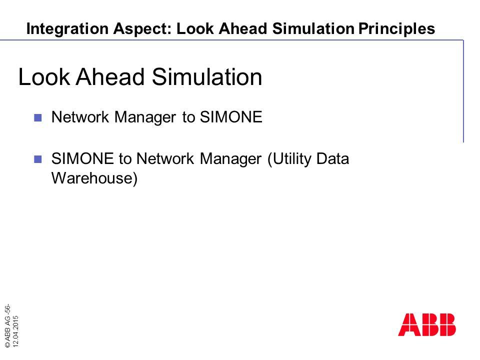 © ABB AG -56- 12.04.2015 Look Ahead Simulation Integration Aspect: Look Ahead Simulation Principles Network Manager to SIMONE SIMONE to Network Manage
