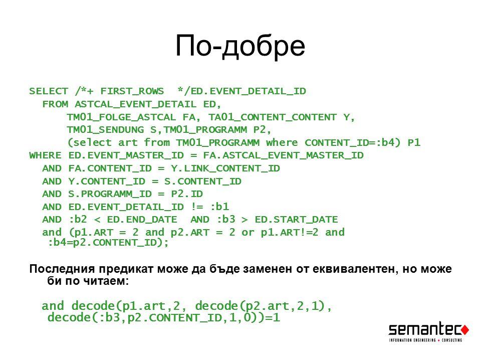 По-добре SELECT /*+ FIRST_ROWS */ED.EVENT_DETAIL_ID FROM ASTCAL_EVENT_DETAIL ED, TM01_FOLGE_ASTCAL FA, TA01_CONTENT_CONTENT Y, TM01_SENDUNG S,TM01_PROGRAMM P2, (select art from TM01_PROGRAMM where CONTENT_ID=:b4) P1 WHERE ED.EVENT_MASTER_ID = FA.ASTCAL_EVENT_MASTER_ID AND FA.CONTENT_ID = Y.LINK_CONTENT_ID AND Y.CONTENT_ID = S.CONTENT_ID AND S.PROGRAMM_ID = P2.ID AND ED.EVENT_DETAIL_ID != :b1 AND :b2 ED.START_DATE and (p1.ART = 2 and p2.ART = 2 or p1.ART!=2 and :b4=p2.CONTENT_ID); Последния предикат може да бъде заменен от еквивалентен, но може би по читаем: and decode(p1.art,2, decode(p2.art,2,1), decode(:b3,p2.CONTENT_ID,1,0))=1