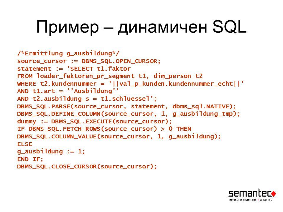 Пример – native dynamic SQL BEGIN EXECUTE IMMEDIATE SELECT t1.faktor FROM loader_faktoren_pr_segment t1, dim_person t2 WHERE t2.kundennummer = :kn AND t1.art = Ausbildung AND t2.ausbildung_s = t1.schluessel AND ROWNUM=1 INTO g_ausbildung USING val_p_kunden.kundennummer_echt; EXCEPTION WHEN no_data_found THEN g_ausbildung := 1; END; Още по-добре – обикновен не-динамичен SQL: BEGIN SELECT t1.faktor INTO g_ausbildung FROM loader_faktoren_pr_segment t1, dim_person t2 WHERE t2.kundennummer = val_p_kunden.kundennummer_echt AND t1.art = Ausbildung AND t2.ausbildung_s = t1.schluessel AND ROWNUM=1; EXCEPTION WHEN no_data_found THEN g_ausbildung := 1; END;