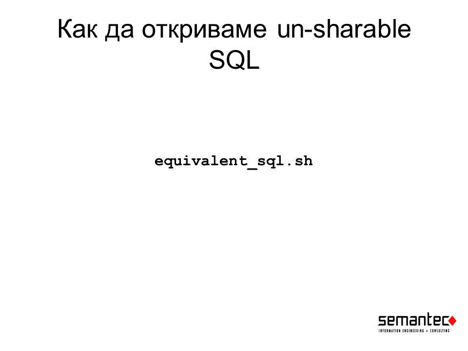 Как да откриваме un-sharable SQL equivalent_sql.sh