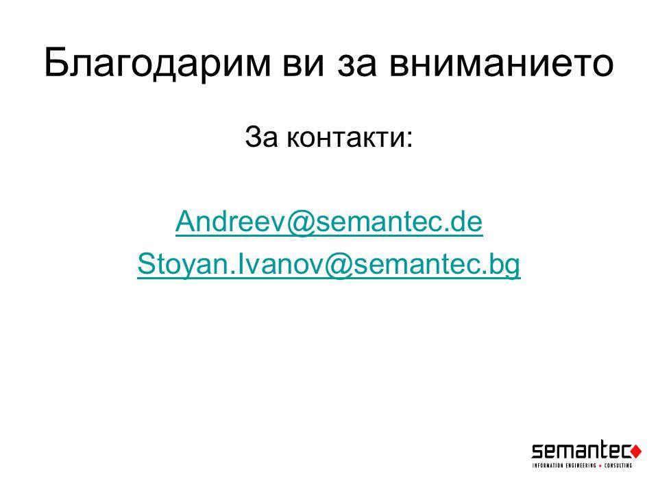 Благодарим ви за вниманието За контакти: Andreev@semantec.de Stoyan.Ivanov@semantec.bg