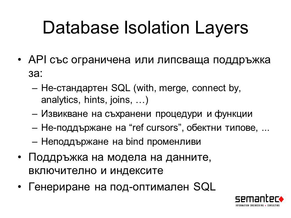 Примери Няма възможност за контрол на SQL Application server-а не може да работи с CBO Налага се да лъжем междинния слой