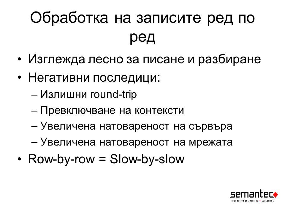 Обработка на записите ред по ред Изглежда лесно за писане и разбиране Негативни последици: –Излишни round-trip –Превключване на контексти –Увеличена натовареност на сървъра –Увеличена натовареност на мрежата Row-by-row = Slow-by-slow