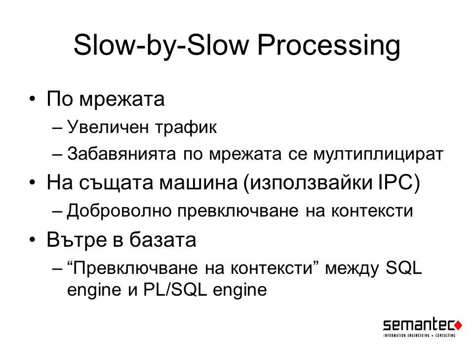Slow-by-Slow Processing По мрежата –Увеличен трафик –Забавянията по мрежата се мултиплицират На същата машина (използвайки IPC) –Доброволно превключване на контексти Вътре в базата – Превключване на контексти между SQL engine и PL/SQL engine
