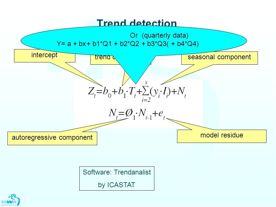 Trend detection advanced linear regression intercept trend componentseasonal component autoregressive component model residue Software: Trendanalist by ICASTAT Or Y= a + bx (quarterly data) + b1*Q1 + b2*Q2 + b3*Q3( + b4*Q4)