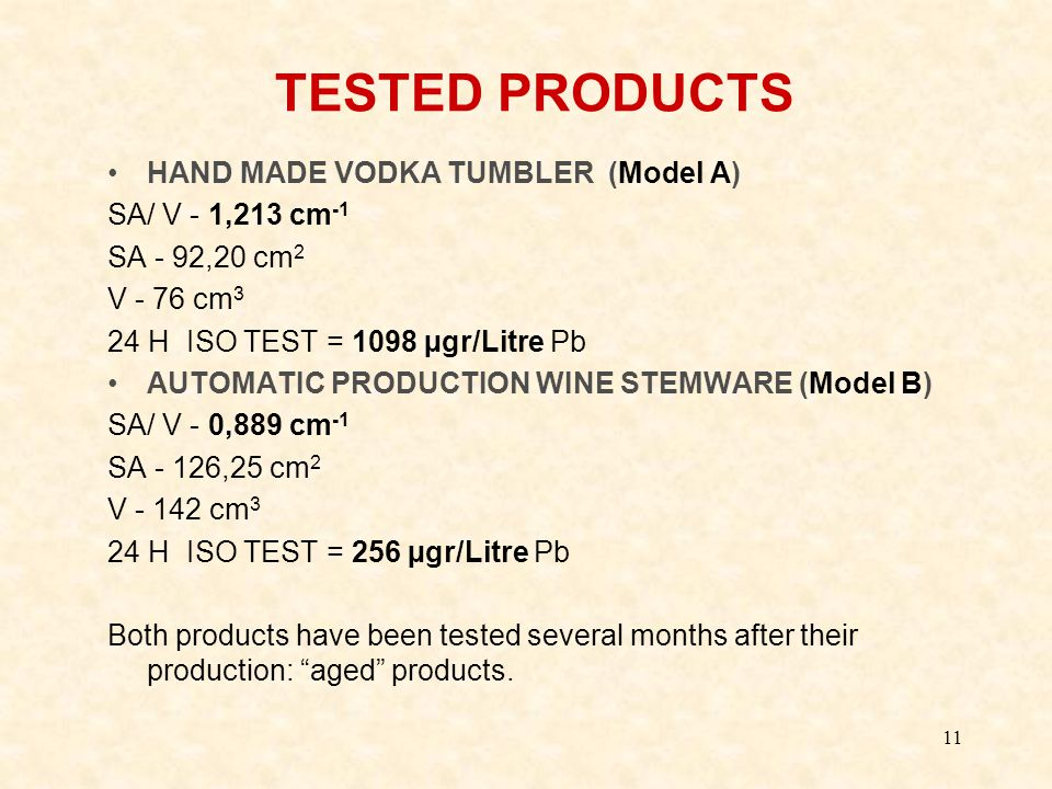 11 TESTED PRODUCTS HAND MADE VODKA TUMBLER (Model A) SA/ V - 1,213 cm -1 SA - 92,20 cm 2 V - 76 cm 3 24 H ISO TEST = 1098 µgr/Litre Pb AUTOMATIC PRODUCTION WINE STEMWARE (Model B) SA/ V - 0,889 cm -1 SA - 126,25 cm 2 V - 142 cm 3 24 H ISO TEST = 256 µgr/Litre Pb Both products have been tested several months after their production: aged products.
