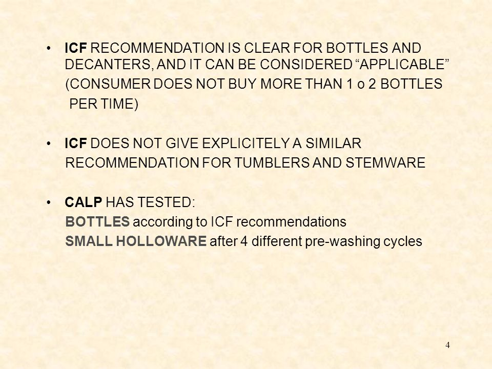 15 Pre-washing Type 1 Dishwashing without vinegar (A1 - B1) A0 639  gr/Litre A1 412  gr/Litre B0 198  gr/Litre B1 133  gr/Litre There is a Lead leaching reduction of about 1/3