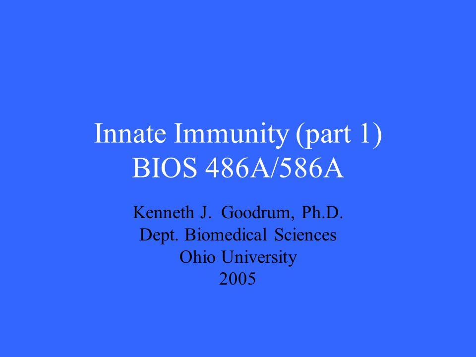 Innate Immunity (part 1) BIOS 486A/586A Kenneth J. Goodrum, Ph.D. Dept. Biomedical Sciences Ohio University 2005