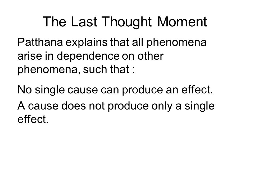 The Last Thought Moment Patthana explains that all phenomena arise in dependence on other phenomena, such that : No single cause can produce an effect.