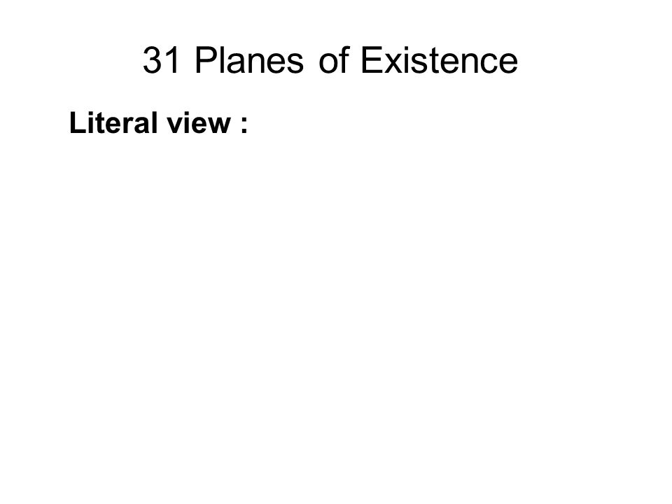 31 Planes of Existence Literal view : These are actual places of existence. Psychological view : These are states of mind. Composite view : These are