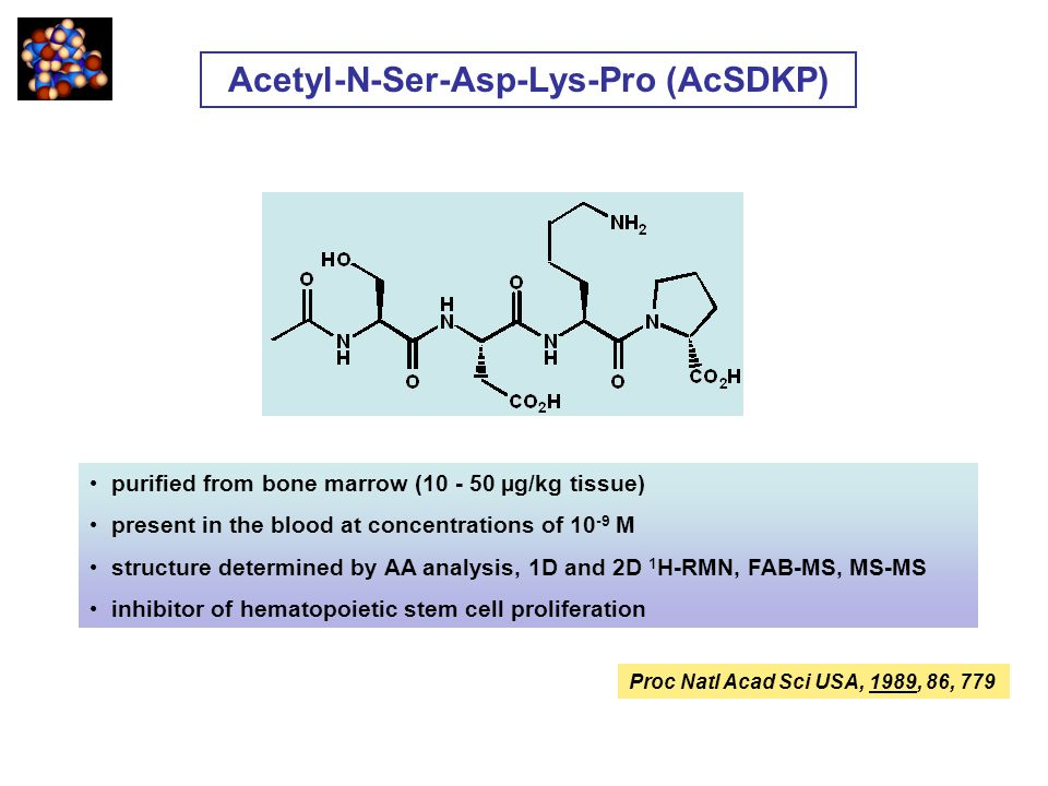 purified from bone marrow (10 - 50 µg/kg tissue) present in the blood at concentrations of 10 -9 M structure determined by AA analysis, 1D and 2D 1 H-