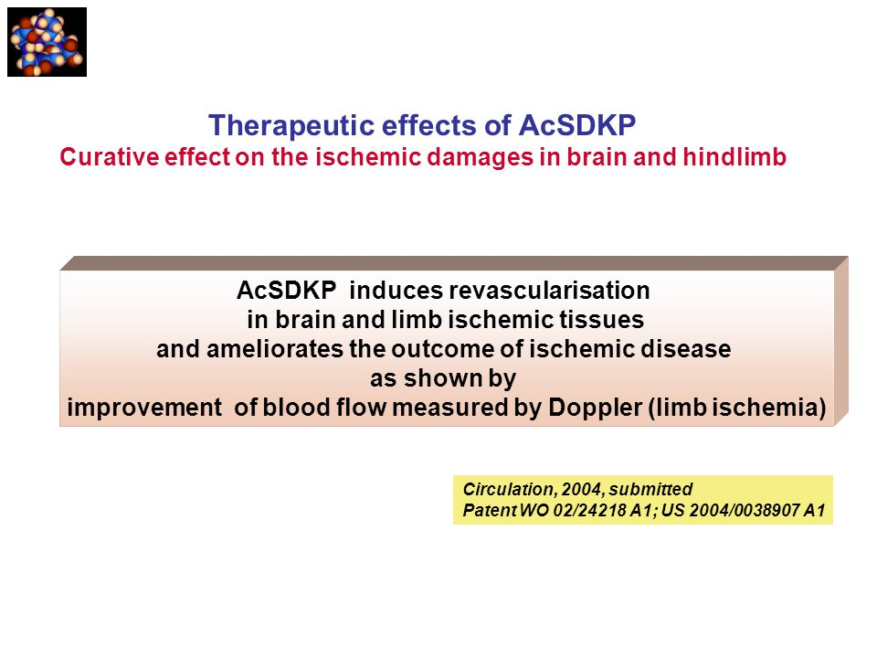 AcSDKP induces revascularisation in brain and limb ischemic tissues and ameliorates the outcome of ischemic disease as shown by improvement of blood f