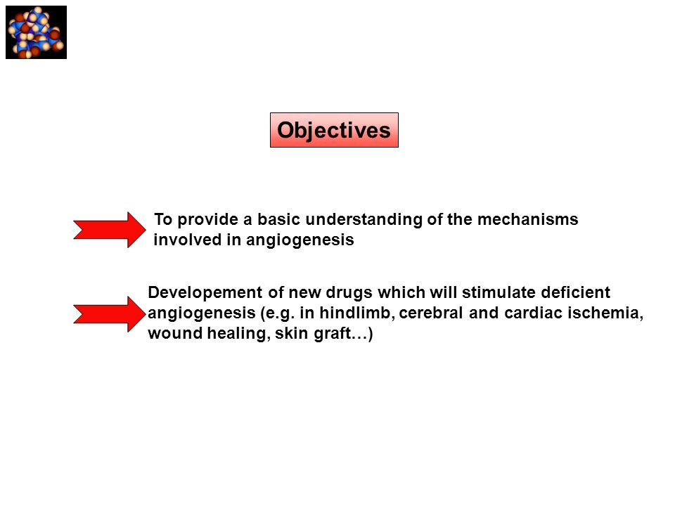 Objectives To provide a basic understanding of the mechanisms involved in angiogenesis Developement of new drugs which will stimulate deficient angiog