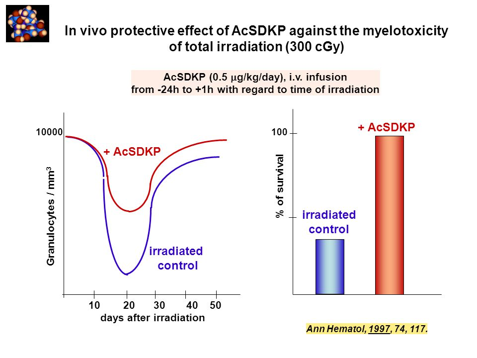 AcSDKP (0.5  g/kg/day), i.v. infusion from -24h to +1h with regard to time of irradiation Ann Hematol, 1997, 74, 117. In vivo protective effect of Ac