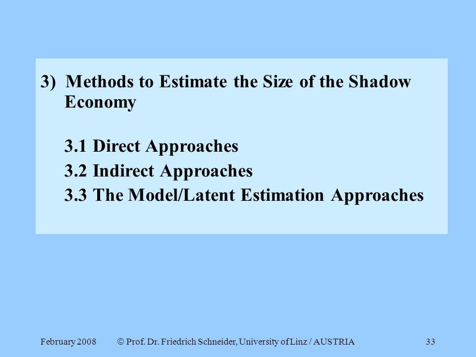February 2008  Prof. Dr. Friedrich Schneider, University of Linz / AUSTRIA 33 3) Methods to Estimate the Size of the Shadow Economy 3.1 Direct Approa