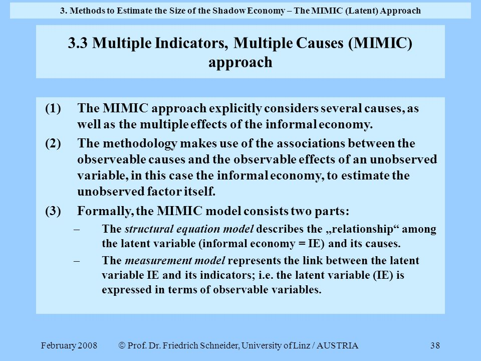 February 2008  Prof. Dr. Friedrich Schneider, University of Linz / AUSTRIA 38 (1)The MIMIC approach explicitly considers several causes, as well as t