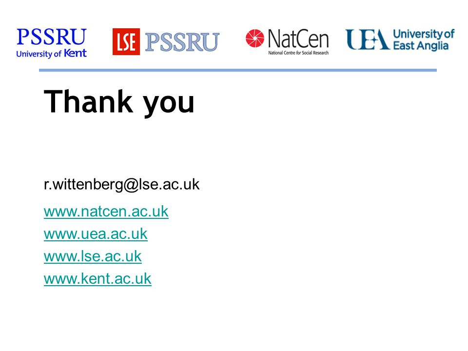 Thank you www.natcen.ac.uk www.uea.ac.uk www.lse.ac.uk www.kent.ac.uk r.wittenberg@lse.ac.uk