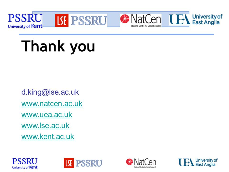 Thank you www.natcen.ac.uk www.uea.ac.uk www.lse.ac.uk www.kent.ac.uk d.king@lse.ac.uk