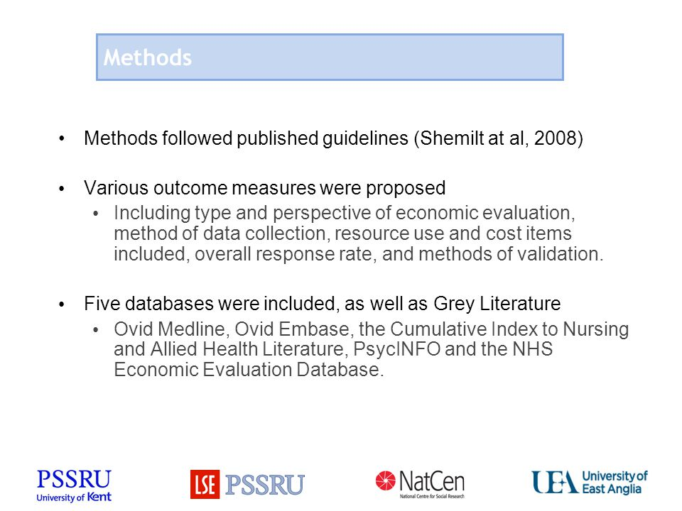 Methods Methods followed published guidelines (Shemilt at al, 2008) Various outcome measures were proposed Including type and perspective of economic