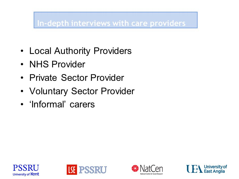 In-depth interviews with care providers Local Authority Providers NHS Provider Private Sector Provider Voluntary Sector Provider 'Informal' carers