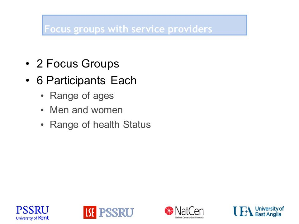 Focus groups with service providers 2 Focus Groups 6 Participants Each Range of ages Men and women Range of health Status