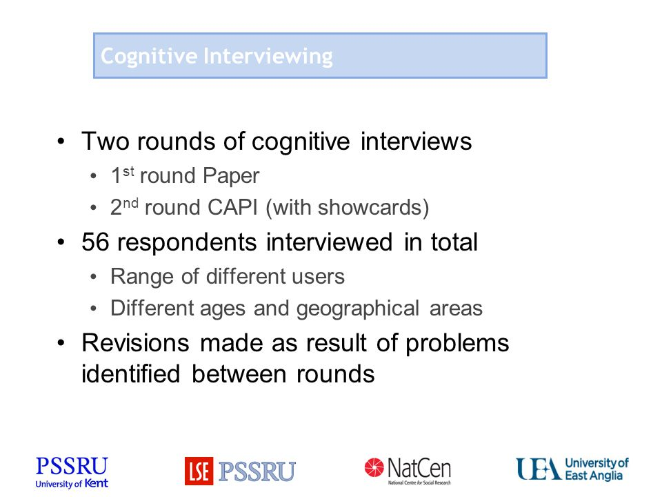 Cognitive Interviewing Two rounds of cognitive interviews 1 st round Paper 2 nd round CAPI (with showcards) 56 respondents interviewed in total Range