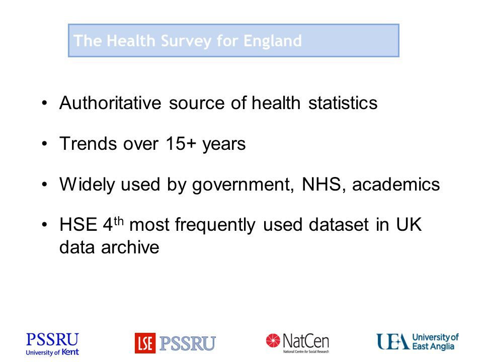 The Health Survey for England Authoritative source of health statistics Trends over 15+ years Widely used by government, NHS, academics HSE 4 th most