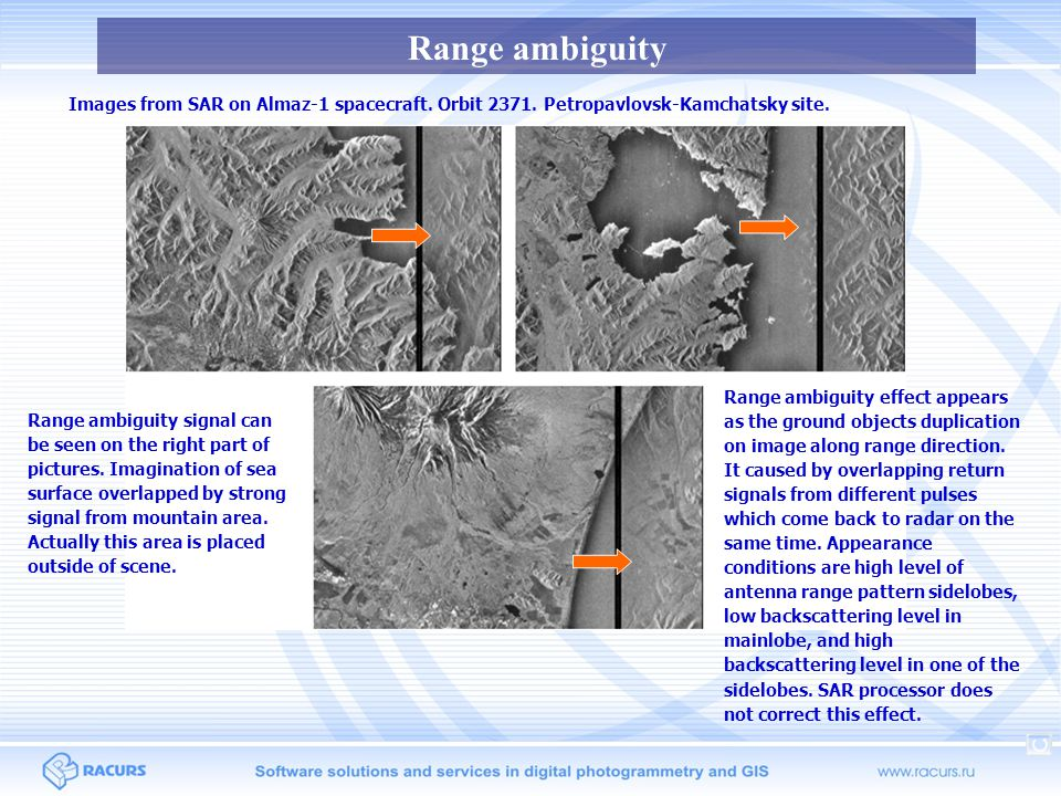 Nadir ambiguity Nadir ambiguity strip could appear on images with high amplitude of backscattered signal in cases of strong nadir signal and high sidelobes of SAR antenna range pattern.