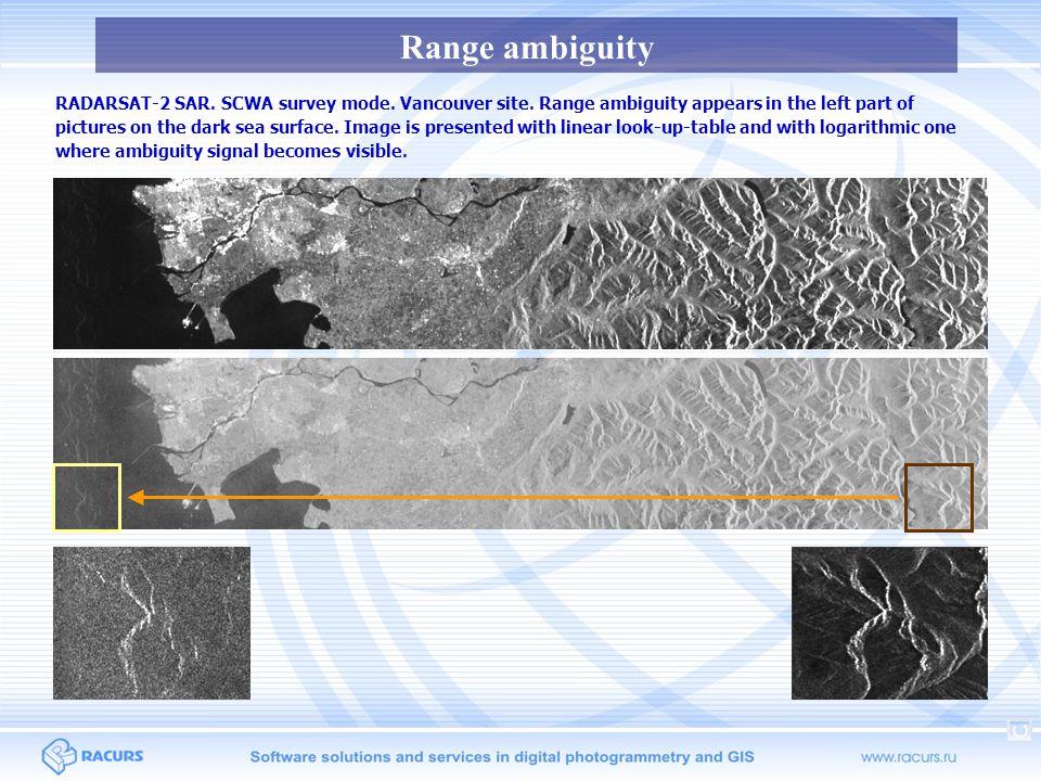 Azimuth ambiguity RADARSAT-1 SAR.Orbit 66267. Survey mode SWA.