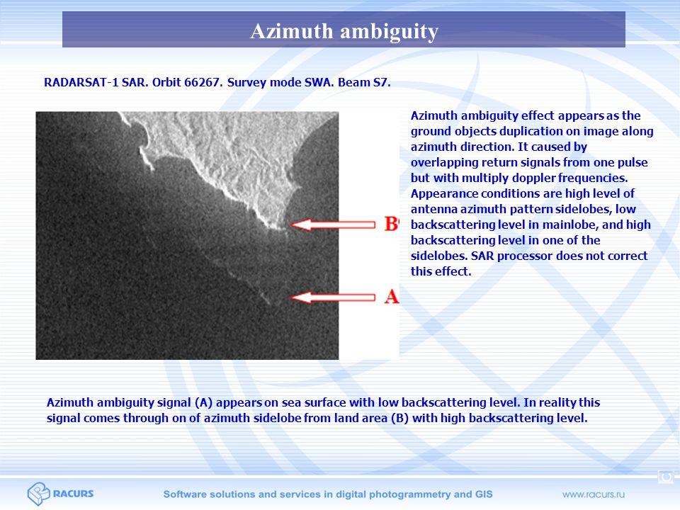 Azimuth ambiguity Almaz-1 SAR.Orbit 2365A. Norfolk, USA site.