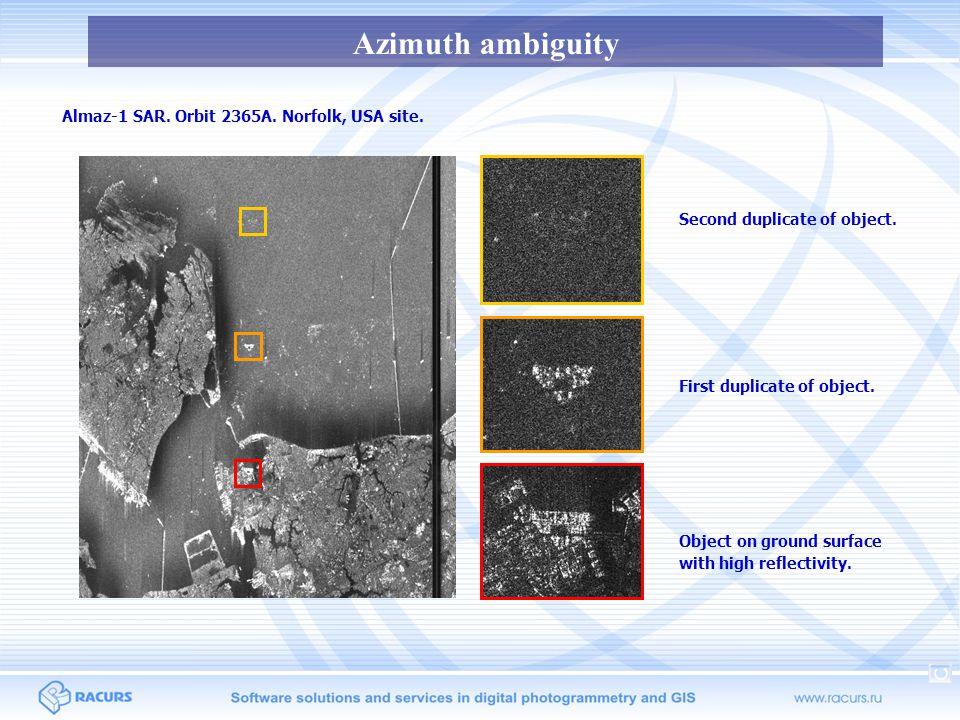 Azimuth ambiguity RADARSAT-2 SAR.EH1 beam. Vancouver site.