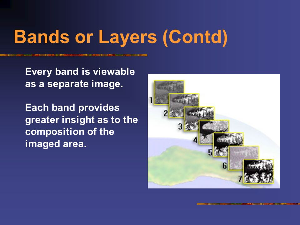 Bands or Layers (Contd) Every band is viewable as a separate image. Each band provides greater insight as to the composition of the imaged area.