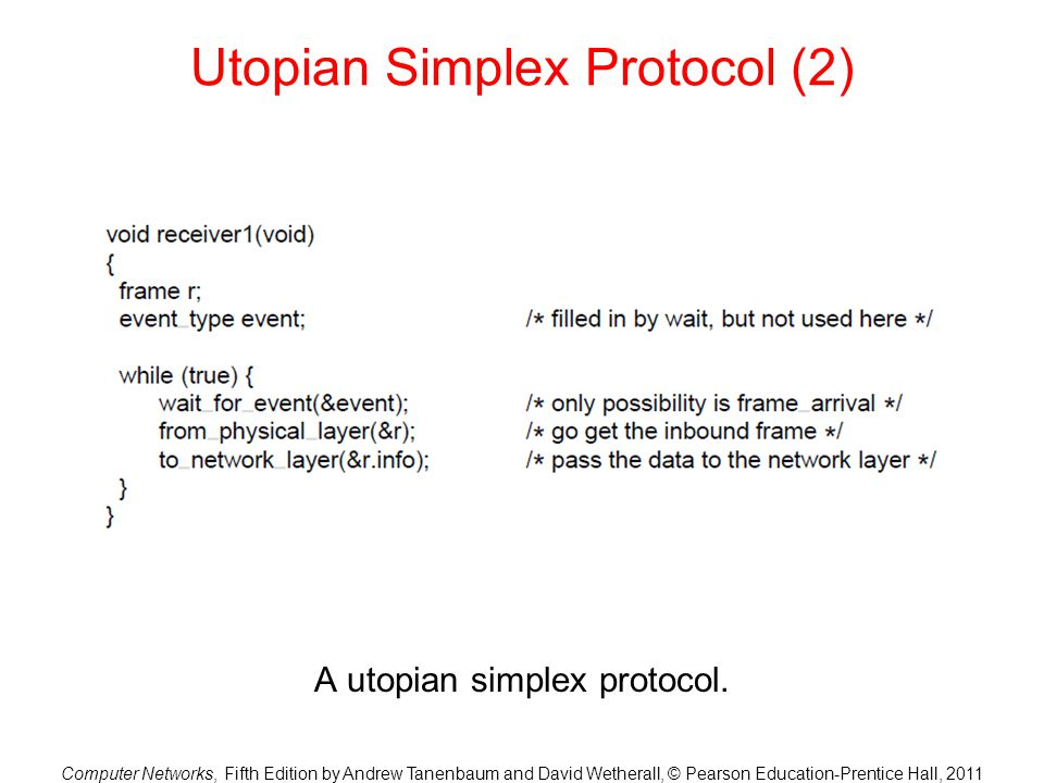 Computer Networks, Fifth Edition by Andrew Tanenbaum and David Wetherall, © Pearson Education-Prentice Hall, 2011 Utopian Simplex Protocol (2) A utopi