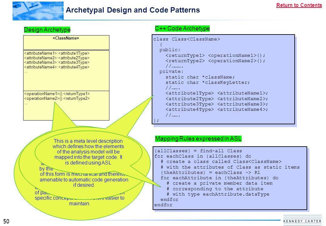 50 K E N N E D Y C A R T E R Return to Contents Archetypal Design and Code Patterns C++ Code Archetype class Class { public: (); //………. private: stati